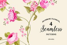 4 patterns with seamless flowers by Romantic Vintage Flowers on @creativemarket