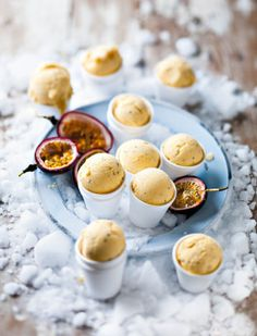 Mango  Passionfruit Ice-Cream... MY FAVOURITE FRUITS ARE MANGO LIME AND PASSIONFRUIT AND MY FAVOURITE TREAT IS ICECREAM AND THIS HAS THREE OUT OF FOUR SO I LOVE IT!