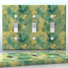 DIY Do It Yourself Home Decor - Easy to apply wall plate wraps | The Restricted Elements  Green and yellow mosaics  wallplate skin sticker for 3 Gang Toggle LightSwitch | On SALE now only $5.95