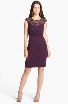 Calvin Klein Lace Yoke Sheath Dress available at Dresses For Work, Formal Dresses, Wedding Dresses, Calvin Klein, Mama Cloth, Bridesmaids And Groomsmen, Wedding Bridesmaids, Elegant Outfit, Nordstrom Dresses