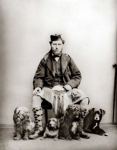 Queen Victoria's Highlander, John Brown 1871. The dogs are Corran, Dacho, Rochie and Sharp, who was Queen Victoria's favourite.