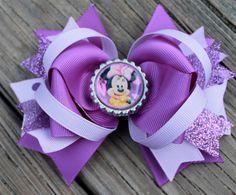 MINNIE MOUSE Hair Bow Boutique Style Purple by PolkaDotzBowtique, $8.99