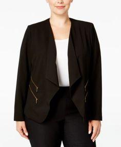 Calvin Klein Plus Size Drape-Front Cutaway Jacket | macys.com