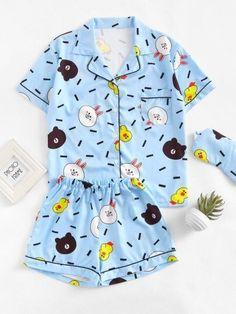 Shop Contrast Trim Cartoon Print Pajama Set With Eye Mask online. SheIn offers Contrast Trim Cartoon Print Pajama Set With Eye Mask & more to fit your fashionable needs. Cute Pajama Sets, Cute Pjs, Cute Pajamas, Pajamas Women, Summer Pajamas, Girls Fashion Clothes, Fashion Outfits, Night Outfits, Girl Outfits