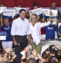 Ann Romney wears Connie Roberson Sasha White blouse along the campaign trail with Mitt Romney
