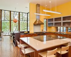 Intriguing Lake House Design with Unique Architectural: Modern Kitchen Design Large Kitchen Table Farquar Lake Residence