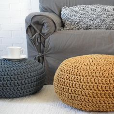 "Large Pouf Ottoman Extraordinary Large Stuffed Crochet Pouf Ottoman Nursery Footstool 24"" Floor Inspiration"