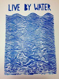 "nautical ""live by water"" linoleum block print wall art. $22 on etsy. beach ocean sea water lakehouse"