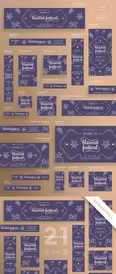 Stand out of the crowd with a perfect banners pack. Big set of banners – 21 various forms and sizes to improve the look of your website, social media pages as Banner Instagram, Google Banner, Twitter Image, Display Ads, Social Media Pages, Banner Template, Banner Design, Gift Tags, Party Supplies