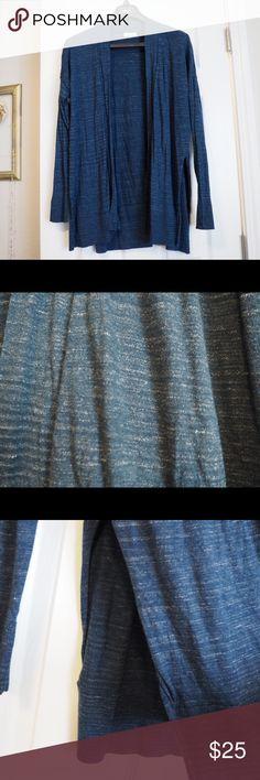 Lou & Grey Heathered Blue Cardigan, Sz L Gently used. Heathered blue cardigan with side slots.. Size Large. Lou & Grey Sweaters Cardigans