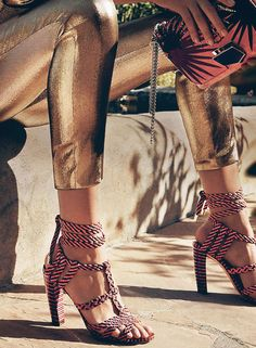 Jimmy Choo Woven Ankle-Wrap Lace-up Heels