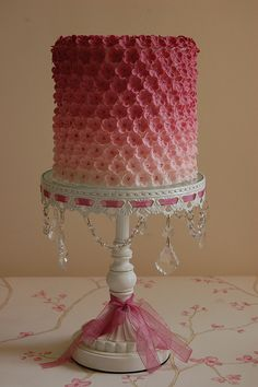 Love this stand! Pretty cake!  IDEA: Try to find lace that ribbon can be woven through and attach to side of cake plate. In love with ombre cake! Need it!