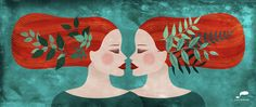 #illustration #piperitadesign #red_hair #plant_illustration #twins #gemini Plant Illustration, Digital Illustration, Red Hair, Gemini, Twins, My Arts, Graphic Design, Tinkerbell, Fantasy Women