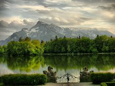 Salzburg, Austria.  This is the view of the untersberg mountain from the gates where some of the scenes of Sound of Music were filmed.