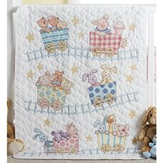 Bucilla Stamped Cross Stitch Crib Cover Kit, 34 by 43-Inch, 45936 Little Train