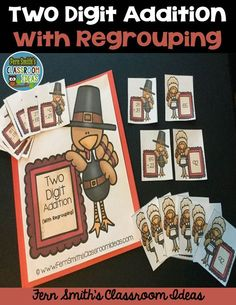#Thanksgiving Fun! Quick and Easy to Prep for Thanksgiving - Two Digit Addition With Regrouping Center Game - This math resource includes ~ Center cover, math center sign, four pages of playing cards, student directions and a self-checking answer key. #TpT #FernSmithsClassroomIdeas {paid}
