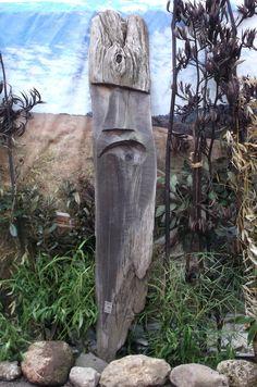upcycled new zealand totara. chainsaw carved garden art by Michael Walsh, Kakahi, New Zealand Sculpture Art, Garden Sculpture, Chainsaw, Garden Art, New Zealand, Carving, Outdoor Decor, Wood Carvings, Sculpting