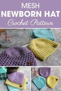 Make this Mesh Newborn Hat for a boy or girl. If you make this hat for a girl you can also add a bow or flower. #crochet #crochetlove #crochetaddict #crochetpattern #crochetinspiration #ilovecrochet
