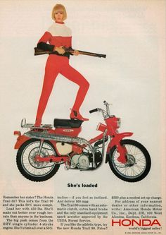 To know more about HONDA ?, visit Sumally, a social network that gathers together all the wanted things in the world! Featuring over other HONDA items too! Women Riding Motorcycles, Vintage Honda Motorcycles, Honda Bikes, Honda Cycles, Honda Cub, Bmw S1000rr, Vintage Bikes, Vintage Ads, Weird Vintage