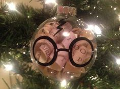 Harry Potter ornament with copies of some of my favorite parts from the books inside.