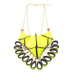Iris Necklace in Neon Yellow by Lizzie