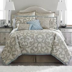 Master Bedroom Gray And Baby Blue Cadiz Jacquard Comforter Set Accessories Found At