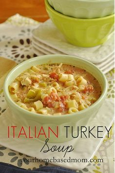 ITALIAN TURKEY SOUP: ½ box short macaroni type pasta,  2 C shredded turkey or chicken, 4 C chicken broth,  1 T olive oil,  ½ onion chopped,  1 green pepper diced,  1 whole jalapeno seeded and diced,  2 stalks celery diced,  2 15 oz cans petite cut tomatoes,  1 can water,  1 C heavy cream,  1 tsp dry oregano,  1 tsp dry basil,  salt & pepper to taste