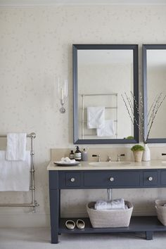 Double large mirrors - make painted washstand into chest to give more storage