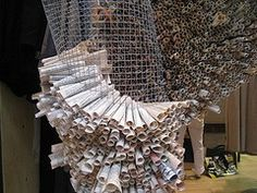 Window display, but could be a great starting point for paper sculpture; simply roll up paper and slide into a chicken wire form. WHO: unknown artist WHAT: paper rolls in chicken wire, design taken from a store window (anthropologie) WHY: i love the way t Image Beautiful, Vitrine Design, Collaborative Art Projects, Group Projects, Church Stage Design, Bees Knees, Recycled Art, Art Plastique, Teaching Art