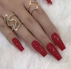 Gloss Red Coffin Nails #ChaunLegend
