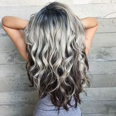 Another view of Melissa's beautiful Ice Queen hair! I lifted her roots with. Another view of M Hair Color And Cut, Cool Hair Color, Hair Colors, Black Hair White Skin, Dark Grey Hair, Long Gray Hair, Grey Wig, Ginger Blonde Hair, Hair Turning White