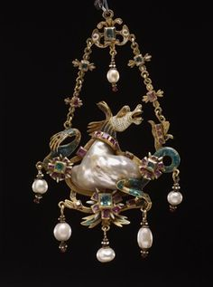 Gold pendant jewel of a hippocamp. A large irregular 'baroque' pearl set into the enamelled gold body of the hippocamp framed by gold, on which are two table-cut rubies and a star-shaped setting of seven table-cut rubies; in the centre below is a larger star-shaped setting of seven table-cut rubies affixed to a gold enamelled 'swag' of pointed foliate design, from which are suspended three pendant pearls with enamelled and set with pearls ...16thC(late)