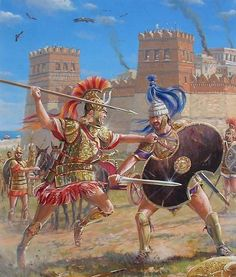 The Trojan War. Achilles vs Hector outside the walls of Troy. Artwork by Mark Churms.