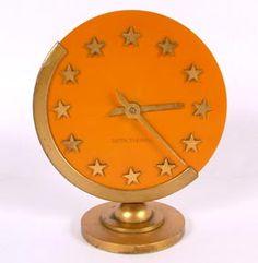 Seth Thomas Art Deco Orange Bakelite Star Clock