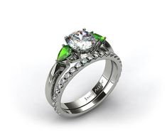 18k White Gold 3-Stone Pear Emerald Engagement Ring