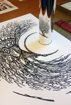 Stunning anamorphic art that can only be seen with a mirrored cylinder. By Istvan Orosz Do You WannaA Draw It  You Do Want AnaDraw! https://itunes.apple.com/app/id885877961