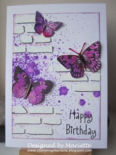 Stamping Mariëtte: Happy Birthday, bricks, spray, butterfly