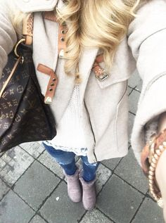 #preppy #fashion /  Cream Coat // Lace Top // Ripped Jeans // Booties