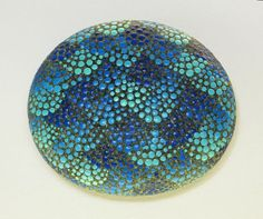 Beach Stone Paperweight  Scales  Dots in Aqua and by PlymouthRocks, $15.00