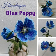Himalayan Blue Poppy - free crochet pattern (Facebook login required) by Leticia Lebron / Flawless Crochet Flowers