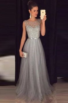 A-line Beaded Long Prom Dress Custom Made Formal Dress Fashion Winter Dance Dres. - A-line Beaded Long Prom Dress Custom Made Formal Dress Fashion Winter Dance Dress Source by - Grey Evening Dresses, Grey Prom Dress, Winter Formal Dresses, Dress Winter, Silver Prom Dresses, Formal Dresses For Weddings, A Line Dress Formal, Silver Gown, Grey Gown