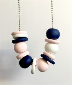 Navy, White and Pastel Pink Polymer Clay Necklace