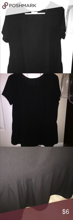Black Blouse: medium, work or casual Black medium sized shirt. Bought from Nordstrom. Wore only twice but then gained weight and can't fit! Can be worn for casual or work clothing. It's pretty loose around the tummy area but the upper part is a true size medium (arms, chest). Any questions? Just ask! Thank you! Tops Blouses