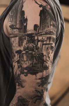 Helicopters and airplanes are sowers of deaths in the war but also the inevitable equipment that the state must have in order as soon as possible to evacuate people and begin defense. Army Tattoos, Military Tattoos, Tattoos Skull, Tribal Tattoos, Body Art Tattoos, New Tattoos, Tattoos For Guys, Cool Tattoos, Tatoos