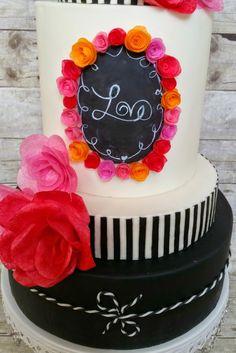 Chalkboard Love by Butterfly Sweets Chalkboard Cake, Chalkboard Wedding cake, modeling chocolate, wafer paper flowers #chalkboardcake #chalkboardweddingcake #modelingchocolate #waferpaperflowers