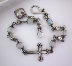 Sideways Cross Bracelet - Vintage Assemblage Bridal - Sterling Silver, Moonstone, Heart Charm, Religious Jewelry Handmade by JryenDesigns