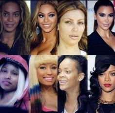 Beyonce, Kim Kardasian, Nicki Minaj and Rihanna without make-up