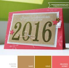 Kreativersum, Karte, Weihnachten, Silvester, Neujahr, Gold, Melonensorbet, Flüsterweiß, Sand, Sterne