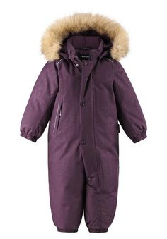 Reimatec warm and waterproof snowsuit for toddlers. Insulated with down and made from Reimatec+ stretch fabric. Finished with a long zipper and insulated seat. Room to Grow: All Reima products run about one size larger than traditional US sizes so ordering your child's current size is like ordering a size up. Click to learn more. [--Read More--] Our Reimatec+ winter jumpsuit for toddlers has lots of fab features! All its seams are sealed waterproof and it has a water- and dirt-repellent… Overall Kind, Velcro Tape, Room To Grow, Pink Jeans, Snow Suit, Fur Trim, Deep Purple, Sperrys, Stretch Fabric