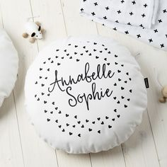 Monochrome Hearts Round Cushion - product image